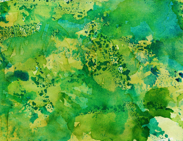 Abstract Artistic Background With Shades Of Hand Painted Green Colors Art Print