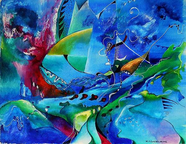 Improvisation Art Print featuring the painting Abstract Mindscape No.5-improvisation Piano And Trumpet by Wolfgang Schweizer