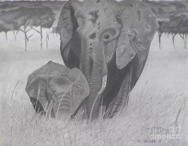 Elephants Art Print featuring the drawing Allmother by Wil Golden