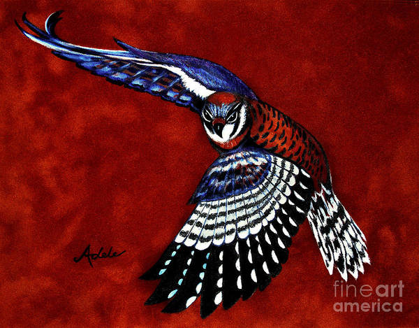 Kestrel Art Print featuring the painting American Kestrel by Adele Moscaritolo