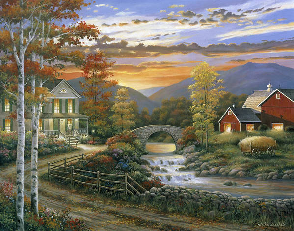 Pallet Print featuring the painting Autumn Barn by John Zaccheo