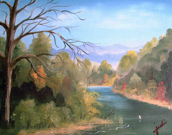 River Landscape Art Print featuring the painting Az High Country by Judi Pence