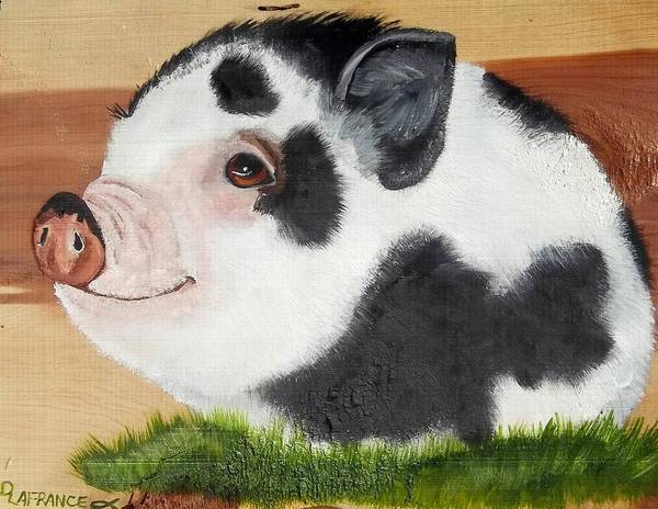Potbelly Pig Art Print featuring the painting Baby Bacon by Debbie LaFrance