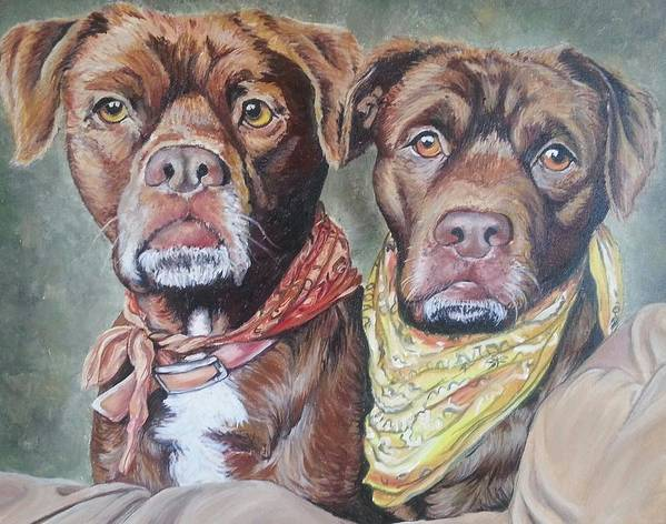 Pit Bull Art Print featuring the painting Bandana Dogs by Stephanie Dunn