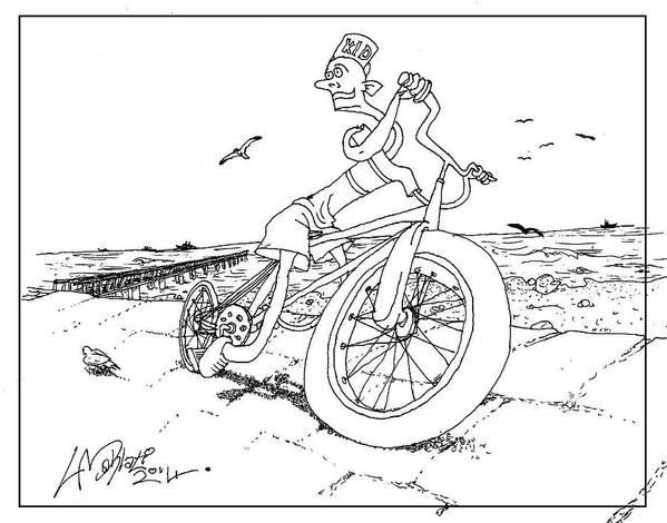 Bicycle Art Print featuring the drawing Beach Kid by Libo Mahlati