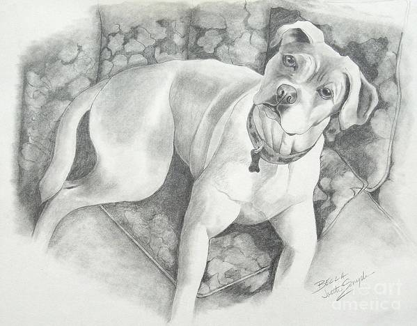 Pet Portraits Art Print featuring the drawing Bella My Pup by Joette Snyder
