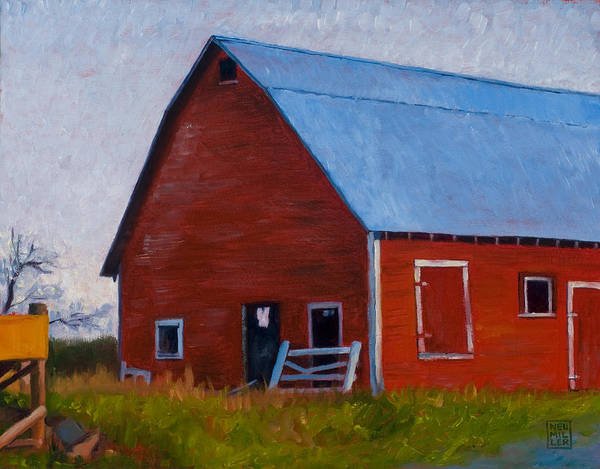 Farm Art Print featuring the painting Bishop Barn by Stacey Neumiller