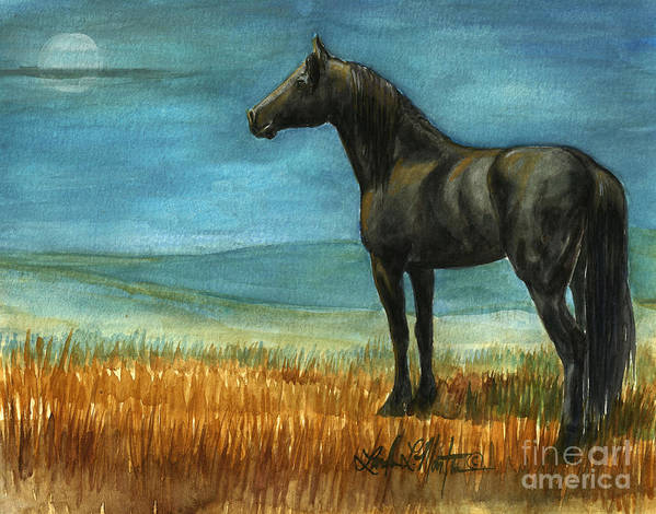 Wild Horses Print featuring the painting Blue Moon by Linda L Martin