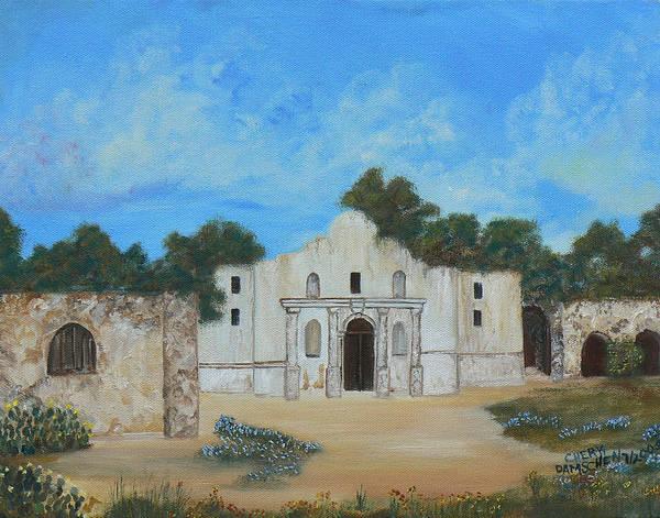 The Alamo. Bluebonnets. Landscape Art Print featuring the painting Bluebonnets At The Alamo by Cheryl Damschen