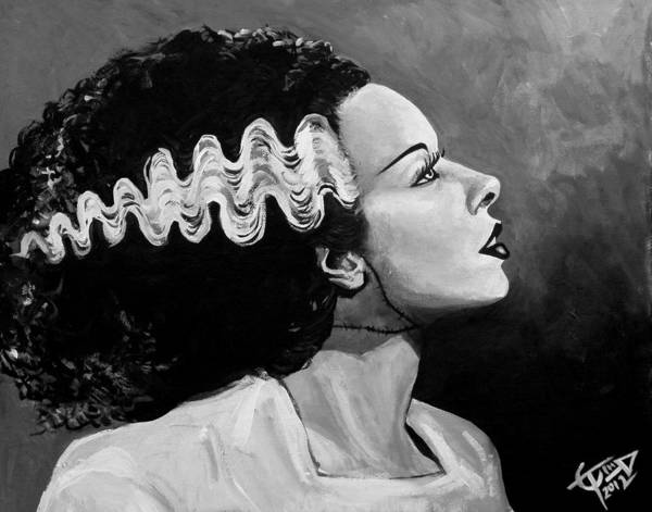 Bride Of Frankenstein Art Print featuring the painting Bride by Tom Carlton
