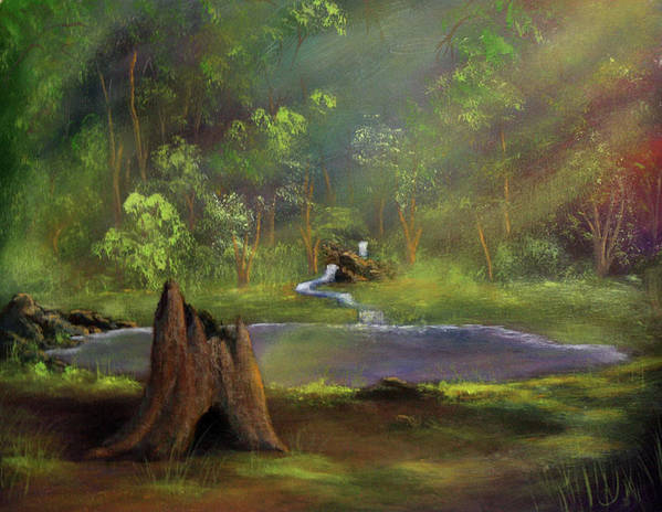 Stump Art Print featuring the painting Brightening by Dawn Blair