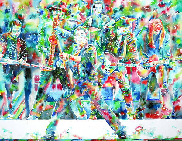 Bruce Art Print featuring the painting Bruce Springsteen And The E Street Band - Watercolor Portrait by Fabrizio Cassetta
