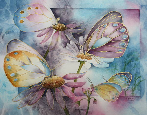 Butterflies Art Print featuring the painting Butterfly Garden by Patsy Sharpe