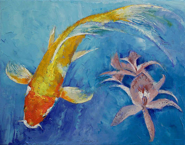 Butterfly Koi Art Print featuring the painting Butterfly Koi With Orchids by Michael Creese