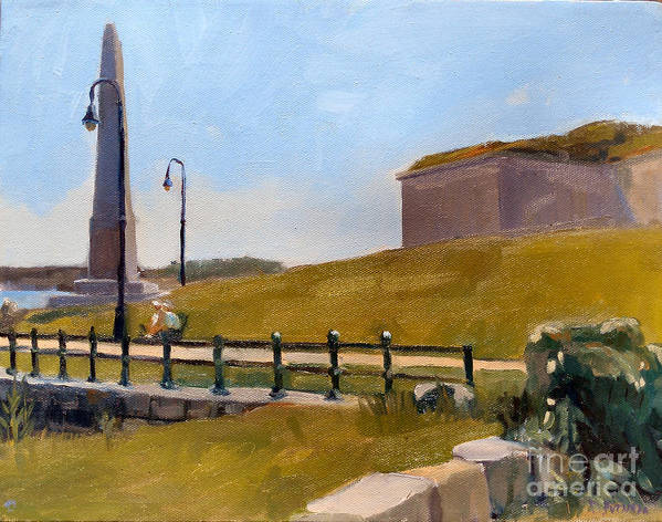 Fort Independence Art Print featuring the painting Castle Island Day by Deb Putnam