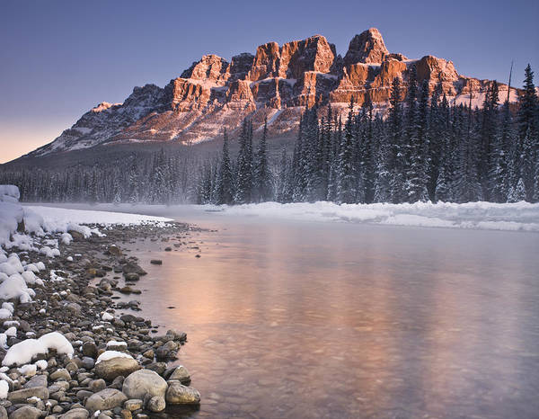 Castle Mountain Art Print featuring the photograph Castle Mountain And The Bow River by Richard Berry