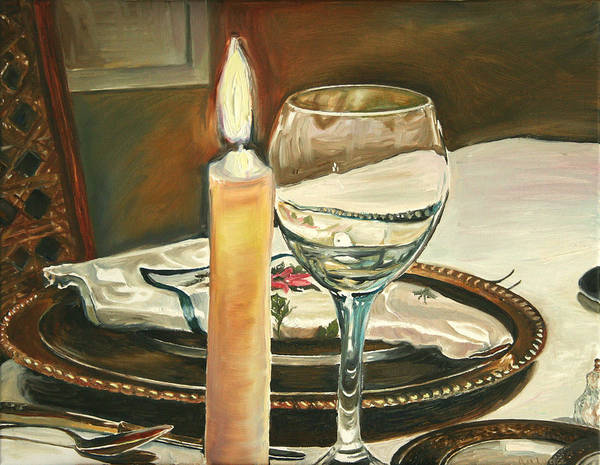 Still Life Art Print featuring the painting Christmas Dinner With Place Setting by Jennifer Lycke