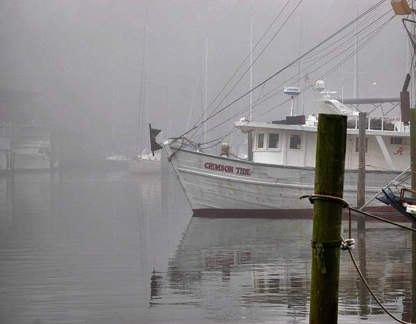 Alabama Art Print featuring the digital art Crimson Tide In The Mist by Michael Thomas