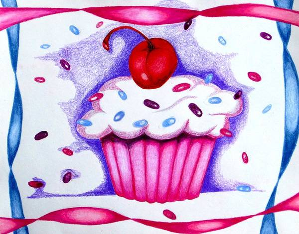 Cupcake Art Print featuring the drawing Cupcake And Ribbons by Kori Vincent