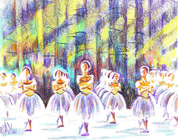Kipdevore Art Print featuring the painting Dancers In The Forest by Kip DeVore