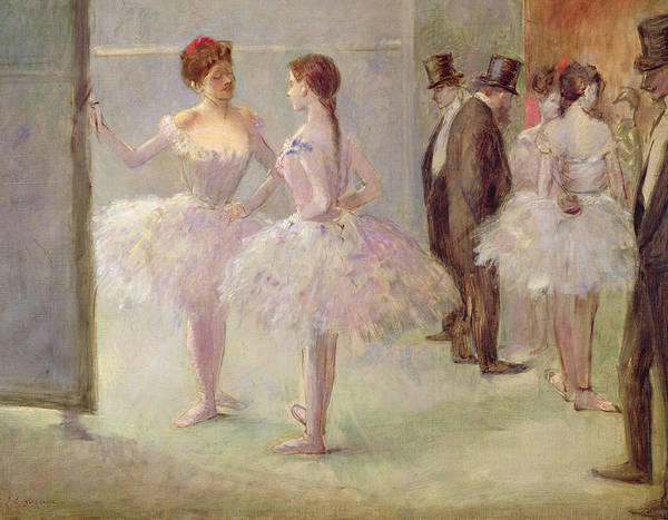 Dancers In The Wings At The Opera Art Print featuring the painting Dancers In The Wings At The Opera by Jean Louis Forain