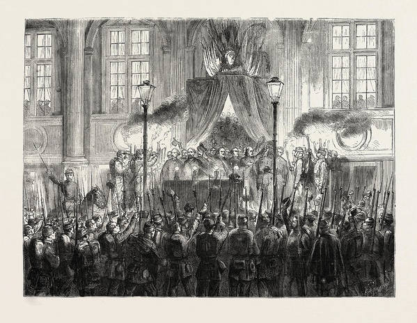 Declaring Art Print featuring the drawing Declaring The Result Of The Plebiscite In Paris by French School