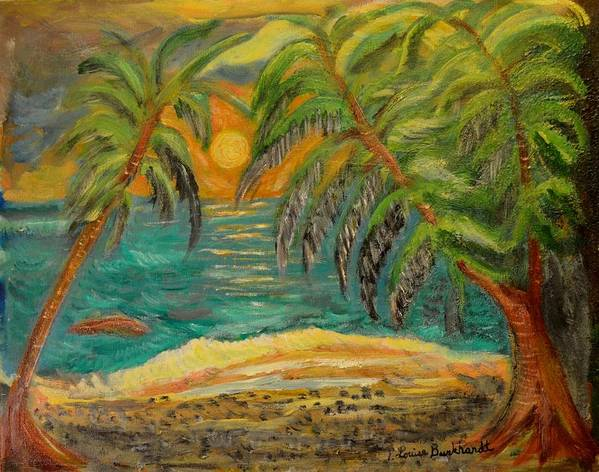 Tropical Art Print featuring the painting Deserted Tropical Sunset by Louise Burkhardt