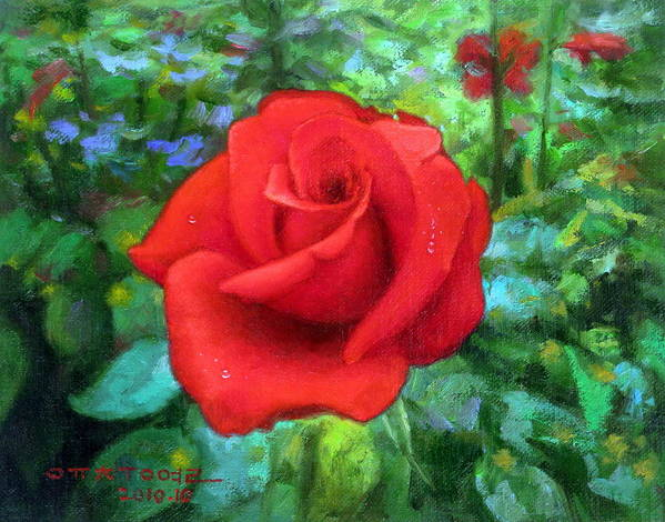 Dew Art Print featuring the painting Dew Soaked Rose by Yoo Choong Yeul