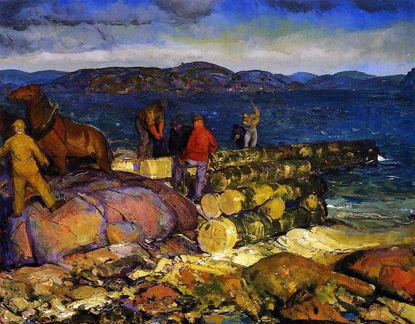 Male; Labourer; Labourers; Labouring; Working; Building; Constructing; Construction; Coast; Horse; Coastal; Landscape; Coastal Scene Art Print featuring the painting Dock Builders by George Wesley Bellows