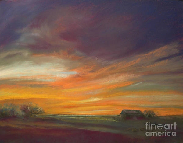 Dusk Art Print featuring the painting Dusk by Addie Hocynec