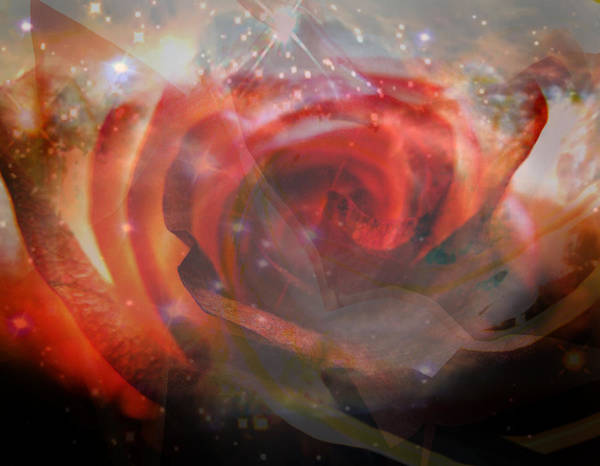 Hubble Digital Photograph Art Glass Reflections Non Representational Abstract Art Reds Yellows Bright Space Shine Judy Paleologos Print Photographs Print featuring the photograph Echoes Of The Rose by Judy Paleologos