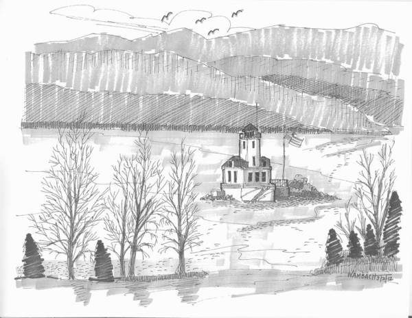 Lighthouse Art Print featuring the drawing Esopus Lighthouse by Richard Wambach
