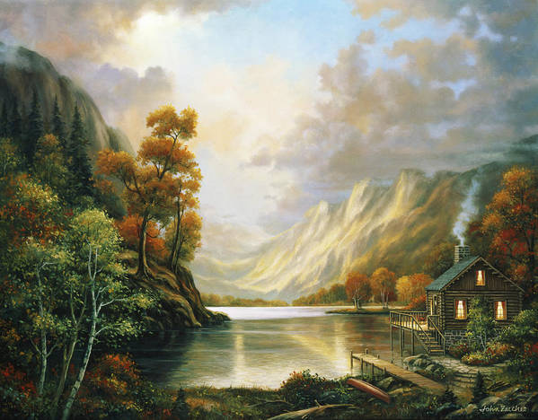 Pallet Art Print featuring the painting Fall Serene by John Zaccheo