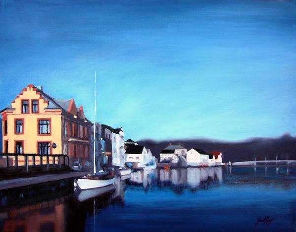 Dock Art Print featuring the painting Farsund Dock Scene I by Janet King