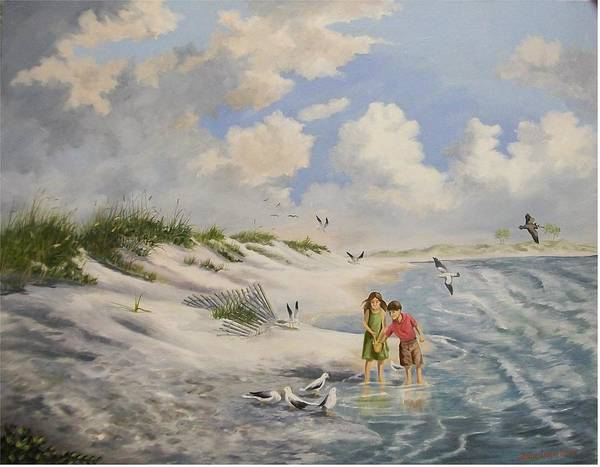 2 Children Art Print featuring the painting Feeding The Wildlife by Wanda Dansereau