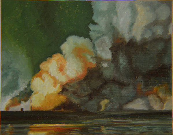 Water Art Print featuring the painting Fire And Water by Thu Nguyen