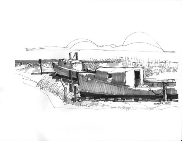 Ocracoke Art Print featuring the drawing Fishers At Rest Ocracoke Nc 1970s by Richard Wambach