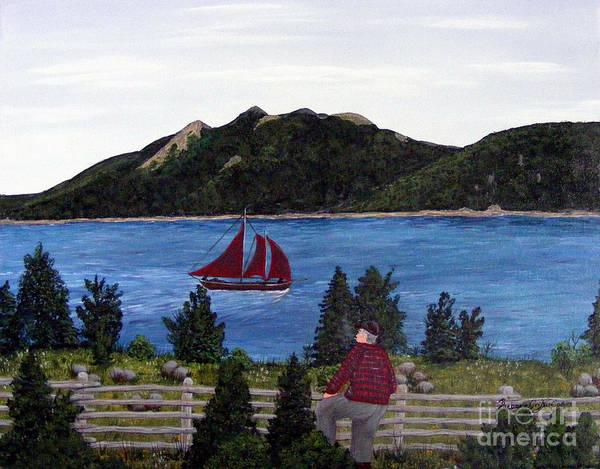 Ship Art Print featuring the painting Fishing Schooner by Barbara Griffin