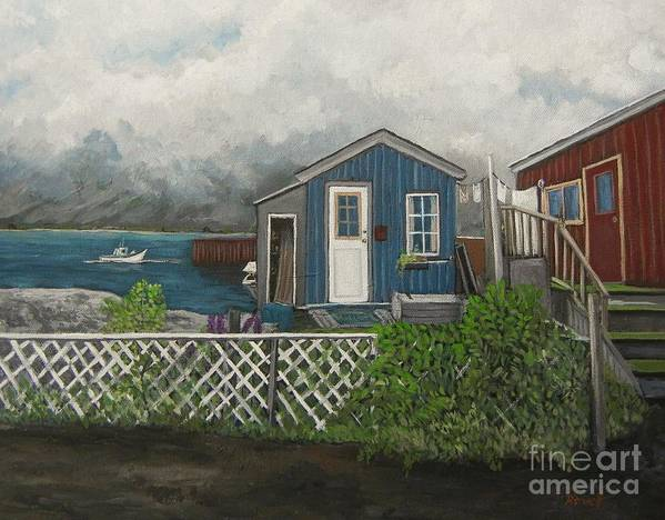 Alaska Print featuring the painting Fishing Shacks Alaska by Reb Frost