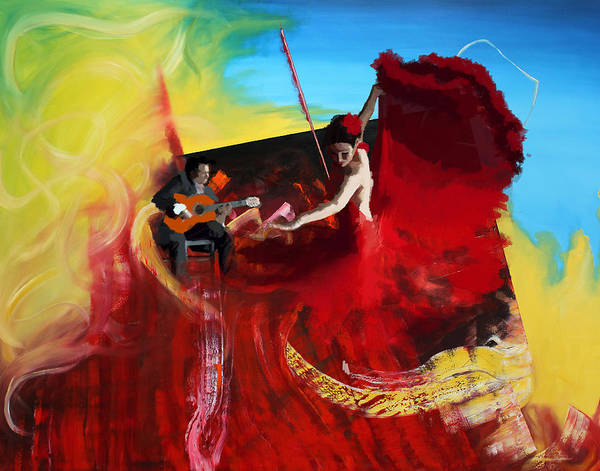 Jazz Art Print featuring the painting Flamenco Dancer 016 by Catf