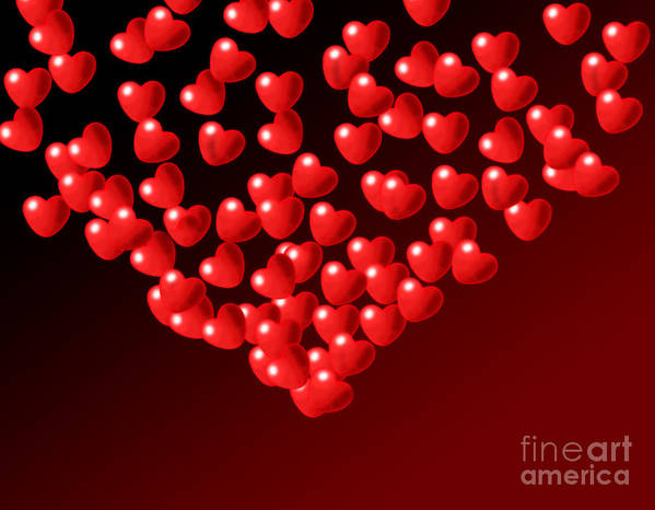 Wallpaper Art Print featuring the digital art Fountain Of Love Hearts by Kiril Stanchev
