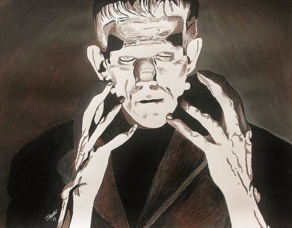 Frankenstein Art Print featuring the painting Frankenstein by Jeremy Moore