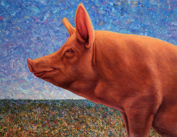 Pig Art Print featuring the painting Free Range Pig by James W Johnson