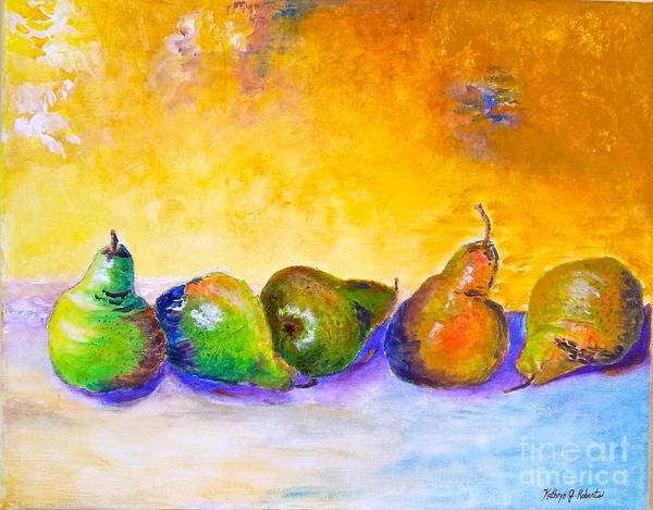 Pear Art Print featuring the painting Fruity Pearfection by Kathryn G Roberts