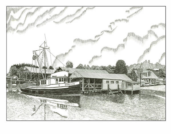 Fishing Boat Stanish Dock Gig Harbor Art Print featuring the drawing Genius Ready To Fish Gig Harbor by Jack Pumphrey
