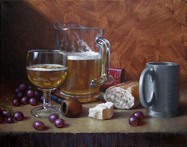 Beer Art Print featuring the painting Good Company by Timothy Jones