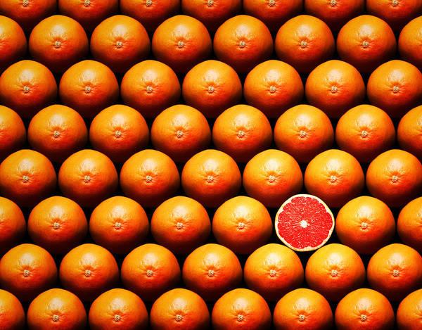 Grapefruit Art Print featuring the photograph Grapefruit Slice Between Group by Johan Swanepoel