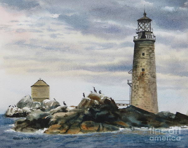 Clouds Art Print featuring the painting Graves Light House by Karol Wyckoff
