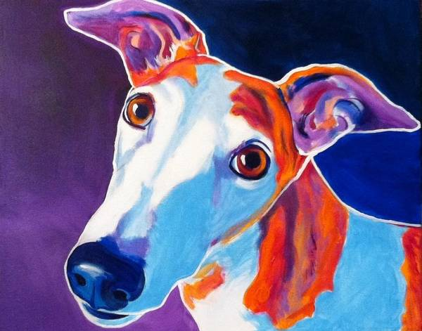 Greyhound Art Print featuring the painting Greyhound - Halle by Alicia VanNoy Call