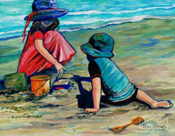 Children Art Print featuring the painting Happiness Is. by Val Stokes
